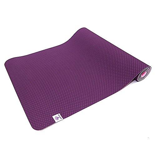 TechFit Yoga Tappetino 6mm Spesso Antiscivolo, Perfeto per Esercizi, Fitness, Pilates, Gym e Camping, Durevole (Viola)