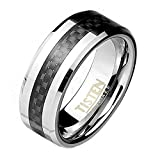 Paula & Fritz Ring Tisten Titan Wolfram silber 8mm breit Ring mit Einlagerung.