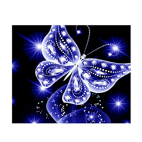 PROKTH 5D Diamond Painting Full Drill Set, DIY Diamond Art Kit, Rhinestone Embroidery Kit Mosaic Paintings Cross Stitch for Adults Children Kids Painting Beginner Blue Butterfly