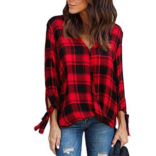 Damen Karierte Bluse Longra Damenmode Kariert Blusenshirt Kariertes Hemd Karo Bluse Damenbluse V-Ausschnitt Hemdbluse Stretch Tunika Bluse Langarmshirt Freizeit Plaid Shirt Oberteil Tops (Red, XL) (Stretch-knit Bluse)