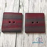Knöpfe Fimoknopf 2Stk Fimo Rot Quadratisch Geformt Nähen 30mm Modern Knopf Handmade Efimoni