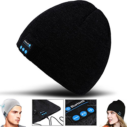 T-mobile Bluetooth Headset (2Ticks Schwarz Kopfhörer weiche warme Strickmütze drahtloser Bluetooth Smart Cap Headset-Lautsprecher Mic Unisex Winter Fashion Spy T-Mobile Revvl Plus)