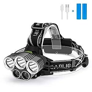 Stirnlampe LED Wiederaufladbar USB Kopflampe Stirnlampe Kinder,Superheller 2000 Lumen Stirnlampen wasserdichte 5 LED 6…