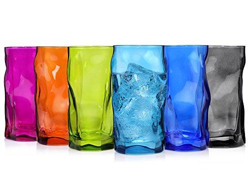 Bormioli Trinkglas Set Sorgente Bunt 6 teilig | Füllmenge 420 ml | Stylisches Universalglas für Cocktails, Bier oder Softdrinks