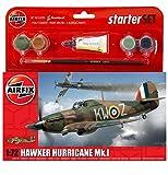 Airfix - Kit pequeño con Pinturas, avión Hawker Hurricane Mk1 (Hornby A55111)