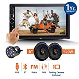 #4: myTVS TAV-40 Car Touch Stereo Player (Bluetooth,Mirror Link) + 8 LED Camera and 6 inch 320W Speaker with in Built Tweeter (Set of 2)