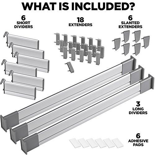 Practical Comfort Verstellbarer Schubladen-Organizer Küche, eleganter  modularer Schubladeneinsatz aus Aluminium - Set aus 9 Trennelementen ...