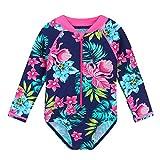 HUAANIUE Costume da Bagno Flower da Bambina One Piece UPF 50+ Swimwear UV con Cerniera 6M-6Y Costume da Bagno