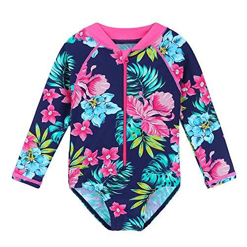 HUAANIUE Mädchen Badeanzug Ärmeln Bademode Bikini Baby Kinder Badekleidung für Schwimmen Schwimmsportbekleidung UPF 50+ UV-Schutz 0-6 Jahre