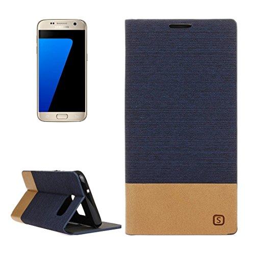 Happy-L Hochwertige Tasche für Samsung Galaxy S7 / G930, Leinwand Muster PU + TPU Horizontal Flip Ledertasche mit Kartensteckplätzen (Farbe : Dunkelblau)