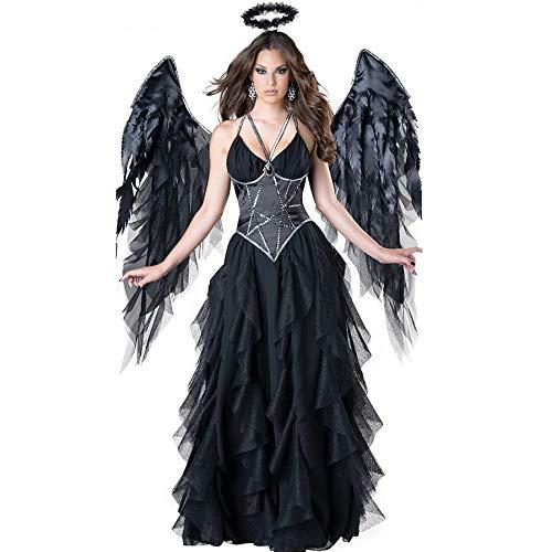 Kostüm Dark Angel Wing - Kostueme Halloween Damen, Geisterbraut Kostuem, Braut Kostuem, Dark Sexy Angel Damenkostüm, Kostüm Halloween-Hexenkleid, Legends of Evil, Karneval, Stirnband, Wings X2, Langer Rock,B,XL
