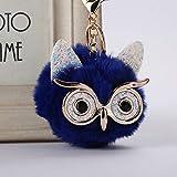 Exing Porte-clés Boule de Fourrure de Hibou Décoration de Sacs Pendentif Porte-clés Pompon Moelleux Charme Animal Porte-clés (Bleu Royal)