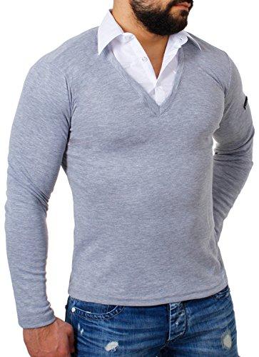 ReRock Herren 2in1 Longsleeve Hemd Kragen Shirt Pullover Langarm mit Tiefem V-Ausschnitt Einfarbig Slimfit Stretch, Grösse:XL;Farbe:Grau (Double-layer-v-ausschnitt-pullover)