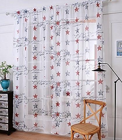 Yiyida 2pcs 1.4m x1.5m Panneaux de rideaux Voile tissé Line Sheer Écharpe Frange avec étoiles pour chambre d'enfant, blanc, 1.4m width x1.5m Drop