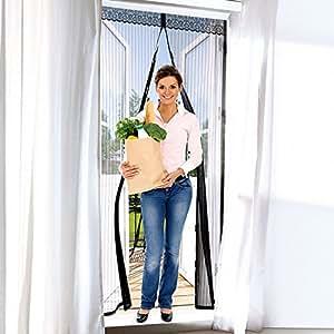 Tenda zanzariera magnetica nera 240x140cm per porte finestre anti zanzare mosche fai - Amazon zanzariere per finestre ...