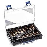 Thürmer Tools 1-10 mm set con punte da trapano in acciaio HSS al cobalto con incrementi da 0.5 mm per acciaio inossidabile, 100 pz.