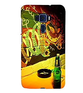 Takkloo Ash Trey ( Smoking, Green Bottle, Colourful wall) Printed Designer Back Case Cover for Asus Zenfone 3 Deluxe ZS570KL (5.7 Inches)