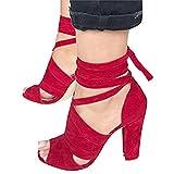 Minetom Sandalen Damen Riemchen Sandaletten High Heels Party Blockabsatz Shoes Elegante Abendschuhe Übergröße Mode Casual Schuhe Sommer B Rot EU 37