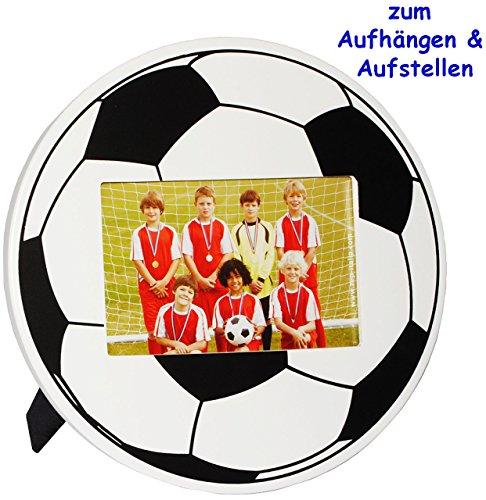 alles-meine.de GmbH Fotorahmen / Bilderrahmen -  Fussball / Ball  - bis 10 x 15 cm - zum Aufhängen & Hinstellen & Aufstellen - aus Holz - Wandbilderrahmen & Tischausteller - GR..