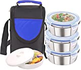 #6: Rema - Lock & Lock Stainless Steel Lunch Box - 4 Pieces With Spoon - Keeps Food Warm For Long Hours - (BLUE)