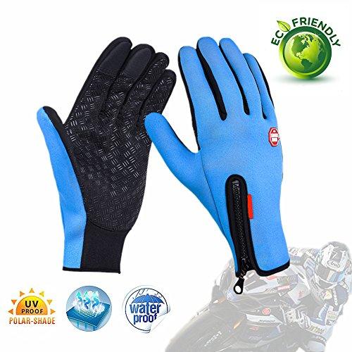 Fahrrad Handschuhe, Morbuy wasserdichter Touchscreen Handschuhe Winter Fahrradhandschuhe Laufhandschuhe Sport Handschuh mit Touchscreen Funktion (L, Blau) (Camo Löwen)