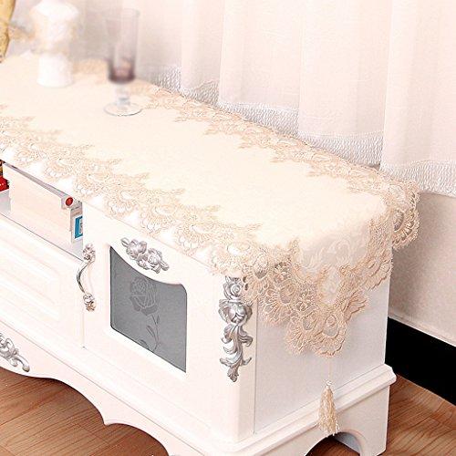 QiangZi Tischläufer Beige Spitze Maschine Waschbar Tischdecke Hochzeit Geburtstag Tischset, Die Schöne Dekoration Stoff, 45 * 225 CM ( größe : 45*200CM )