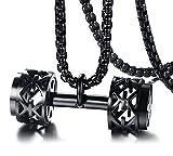 Vnox Acero inoxidable de los hombres plateado en forma de 3D barra con mancuernas gimnasio colgante collar gimnasio culturismo