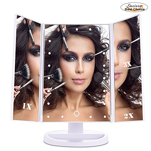 new-arrival-lmeison-tri-fold-lighted-vanity-mirror-21-led-lighted-countertop-cosmetic-makeup-mirror-