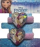 Disney Frozen, Eiskönigin Haarschmuck - 2 Stück Haargummi, Haarband, Zöpfchenhalter - glitzernd mit Glitzerherz, Motiv Elsa und Anna, rosa