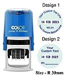 Timbre en caoutchouc fait sur commande rond d'encrage d'individu de COLOP R30 avec le timbre personnalisé par date de dateur
