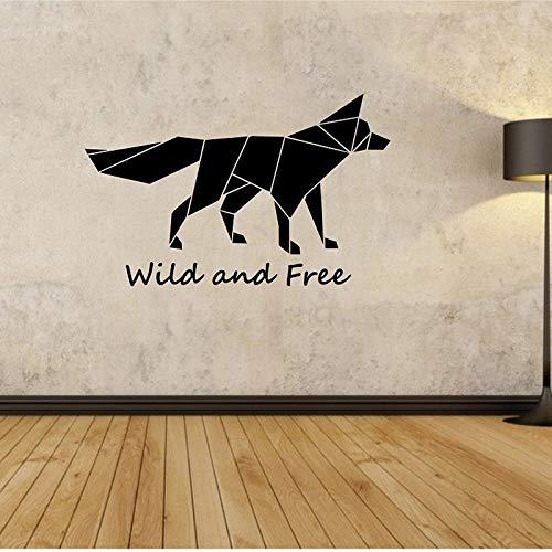 Origami Fuchs Wandtattoo wild und frei Zitat Wandaufkleber Schlafzimmer Wohnzimmer Home Design Wandbild geometrische Wandkunst Vinyl 43x71 cm