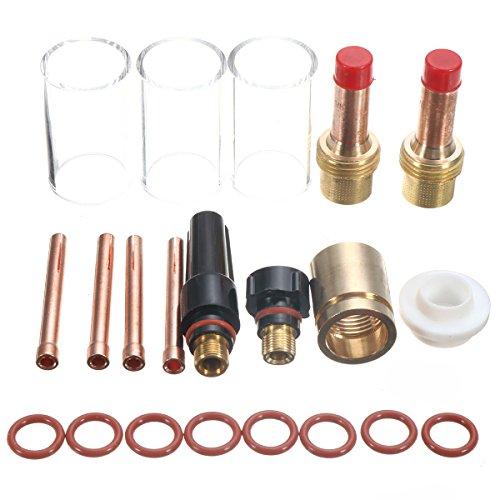 """Funciones: Modelo de montaje: apto para TIG WP-17/18/26 1/8 """" Es un nuevo kit de lente de gas de soldadura TIG para TIG WP-17/18/26 1/8 """". Peso: 312g Paquete incluido: 3 x #13 Copa de vidrio pyrex 42mm alargado 2 x 45V27 pinzas para cuerpo de gas 3...."""