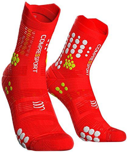 COMPRESSPORT Herren Trail Sock Kompressions Laufsocke, Rot/Weiß, T2 - Racing Herren-socken