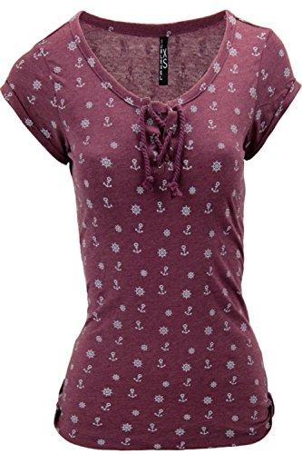 Sublevel Damen T-Shirt Shirt Anker Sailing Kordeln Dunkelrot