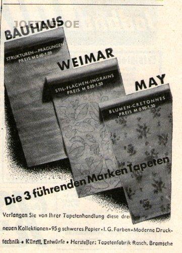 1936 - Anzeige / Inserat : BAUHAUS-WEIMAR-MAY TAPETEN - Format 100x70 mm - alte Werbung /...