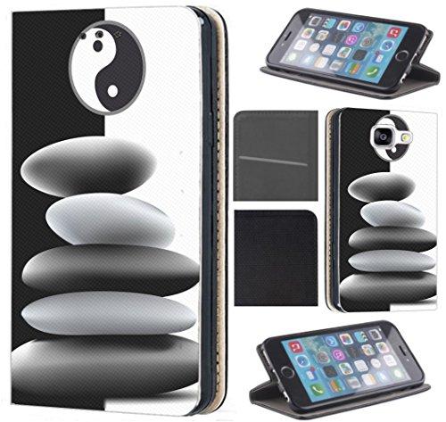 CoverFix Premium Hülle für Samsung Galaxy S4 / S4 Neo Flip Cover Schutzhülle Kunstleder Flip Case Motiv (500 Ying und Yang Schwarz Weiß)