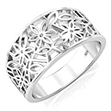 Sz 11 Sterling Silver 925 Victorian leaf Filigree Ring - UK Size: V