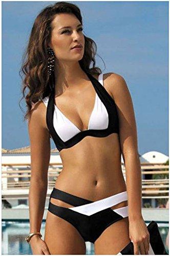 Fortuning's JDS Reizvoller aufgefüllter Halter-Ansatz-Bikini tiefer V-Ansatz zweiteiliger Badeanzug Weiß