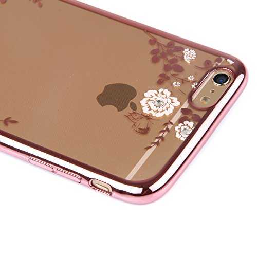 iPhone 6S Plus Silicone Case Cover,iPhone 6 Plus Coque - Felfy Ultra Slim Souple Cristal Clair Gel TPU Placage Cadre Bumper Case Coque Housse Protecteur Bling Glitter Diamant Clair Transparent Case (C Fleurs Blanc Rose D'or Cover