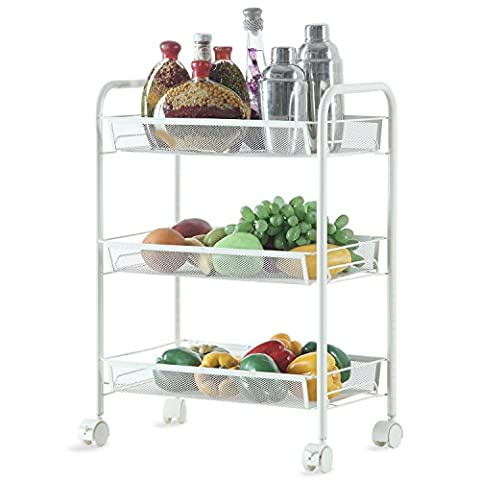 HOMFA Multipurpose Metal Mesh Carts Rolling Storage Rack Sturdy Serving Trolley for Home Kitch Office (3 Tier,