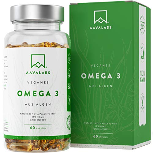 Omega 3 Vegan [1100 mg ] - Omega-3-Fettsäuren aus Algenöl - 300 EPA and 600 DHA pro Tagesdosis - 100% pflanzlich - Unterstützt normale Gehirnleistung & Sehkraft - 60 Kapseln - Omega 3 Dha Kapseln