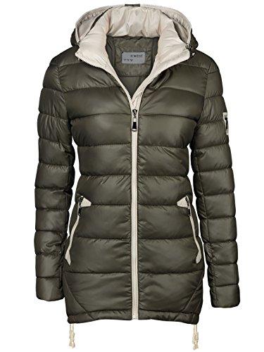 Chaqueta para mujer, abrigo acolchado largo, parka, chaqueta para entretiempo, con capucha,...