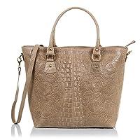 FIRENZE ARTEGIANI.Bolso shopping bag de mujer piel auténtica.Bolso cuero genuino grabado mixto motivo cocodrilo y arabesco lacado. MADE IN ITALY. VERA PELLE ITALIANA. 37,5x28,5x14 cm
