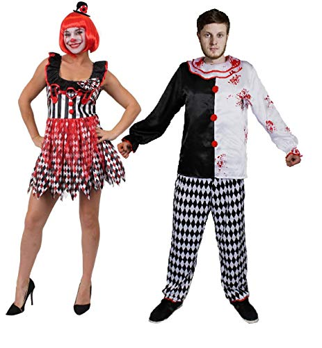 ILOVEFANCYDRESS Killer Clown Paare KOSTÜM VERKLEIDUNG=DIE PERFEKTE VERKLEIDUNG FÜR SIE UND IHN AN Halloween-Fasching+Karneval- Film+FERNSEHN KOSTÜMIERUNG ODER Clown Prank=Frau-SMALL+Mann-XXLarge