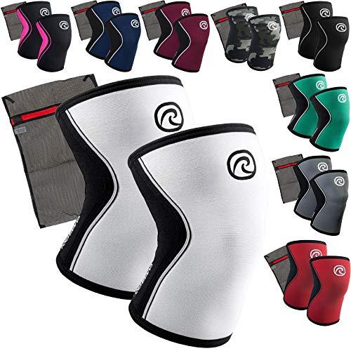 Rehband [1 Paar] 5 mm Neopren Kniebandage - Kniestütze + Ziatec Wäschenetz - Kniegelenk-Bandage - Kniebandage-Krafttraining, Farbe:grau, Größe:XL - 1 Paar - Grau Körperliches Training