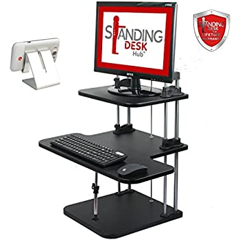Standing Desk Hub Sit Stand Desk 2 Tier Adjustable To