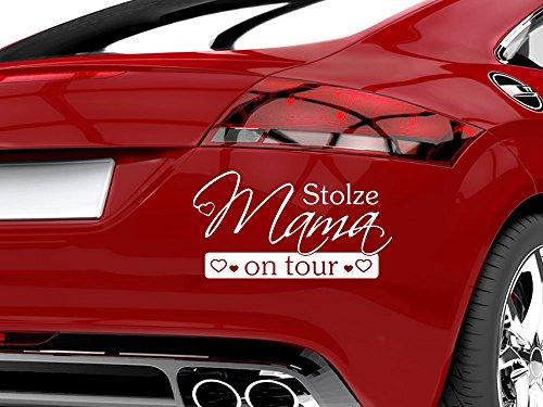 GRAZDesign 745022_20_070G Auto-Aufkleber Baby fürs Auto Spruch Stolze Mama on Tour | Geschenk zur Geburt - Heckscheiben-Aufkleber (37x20cm//070 schwarz)