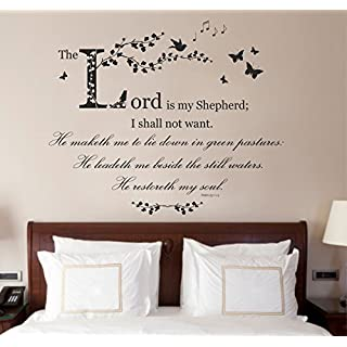 Psalm 23 Christian Bible Quote Vinyl Wall Art Sticker, Mural Decal. 100cm wide x 82.3cm high (Black) by Fabulous Wall Art Stickers