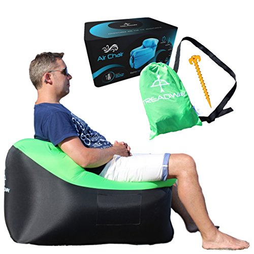 TREADWAY Air Chair by Rapid inflation, compact/lightweight, inflatable air filled beach/camping chair - Ideal for festivals, gaming, fishing, dorm room, bedrooms & travel. (Green)