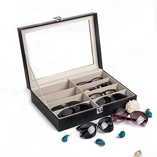 CO-Z Brillenbox Brillen Koffer Etui Eyeglass Case mit Schaufenster aus Glas für Aufbewahrung und Präsentation von 8 Brillen Sonnenbrillen Aufbewahrungsbox Organizer PU Leder 33.5 x 22.5 x 8 cm